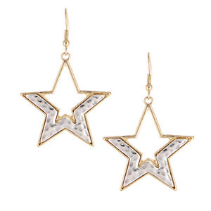 Hammered Silver & Gold Star Drop Earrings